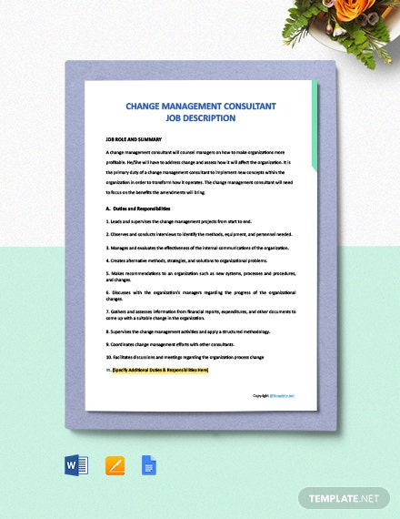 Free Change Management Consultant Job Ad and Description Template