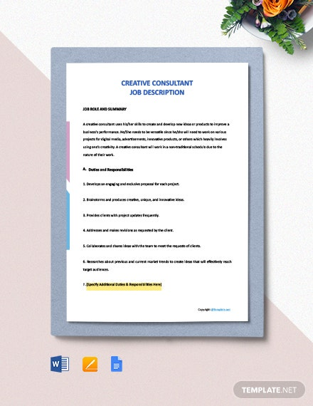 Free Creative Consultant Job Ad and Description Template