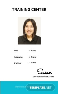 Free Training Center ID Card Template.jpe