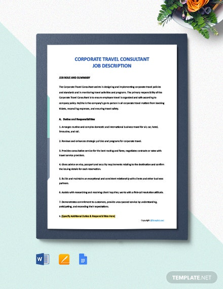 Free Corporate Travel Consultant Job Ad and Description Template