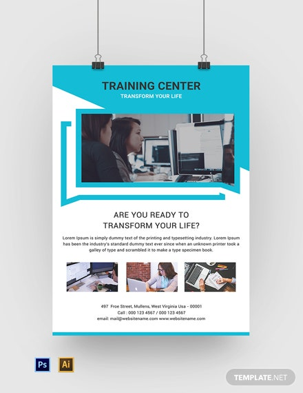 Free Training Center Poster Template