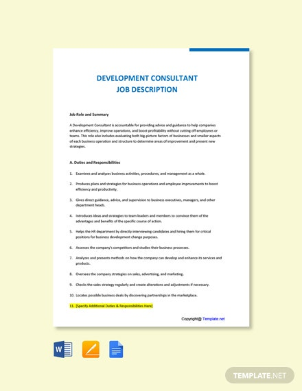 Free Development Consultant Job Description Template