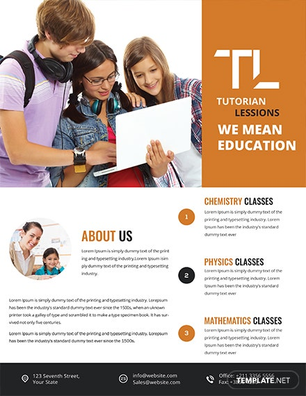 education tutoring flyer template 1x