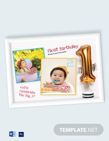 Free First Birthday Photo Frame Template