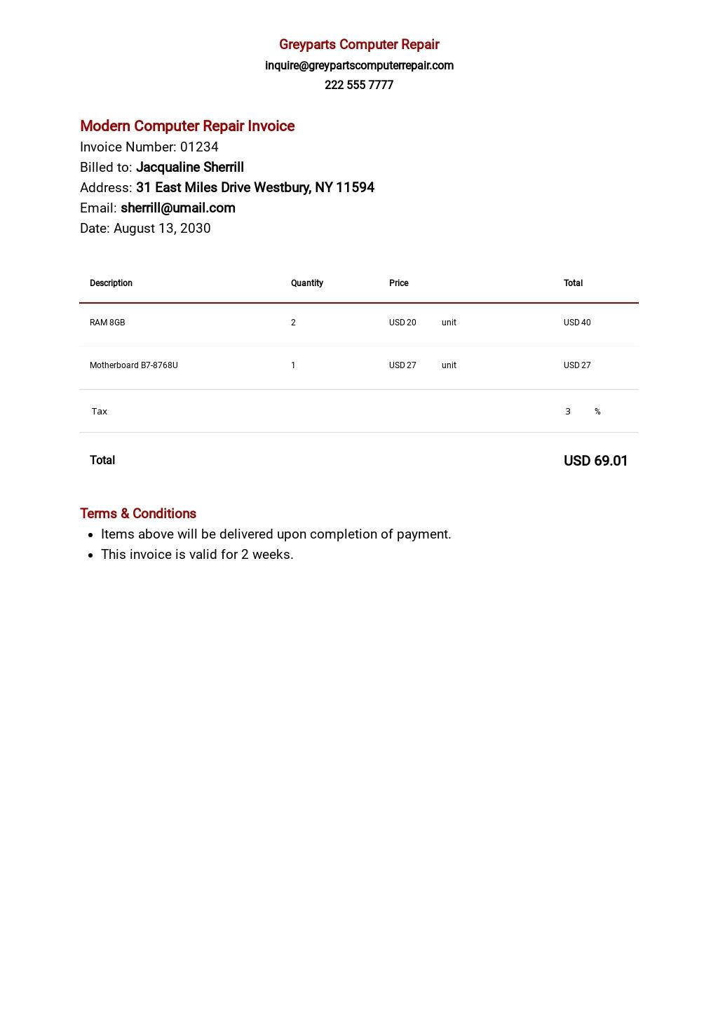 Modern Computer Repair Invoice Template