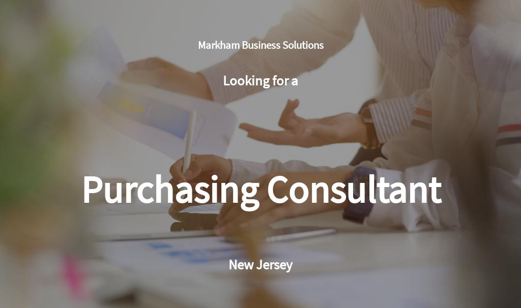 Purchasing Consultant Job Ad and Description Template