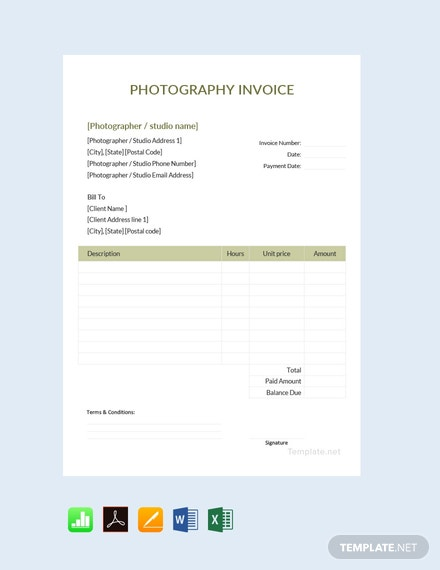 Free Photography Invoice Template Download 93 Invoices In Word