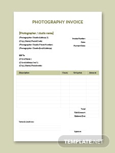 Sample Photography Invoice Template