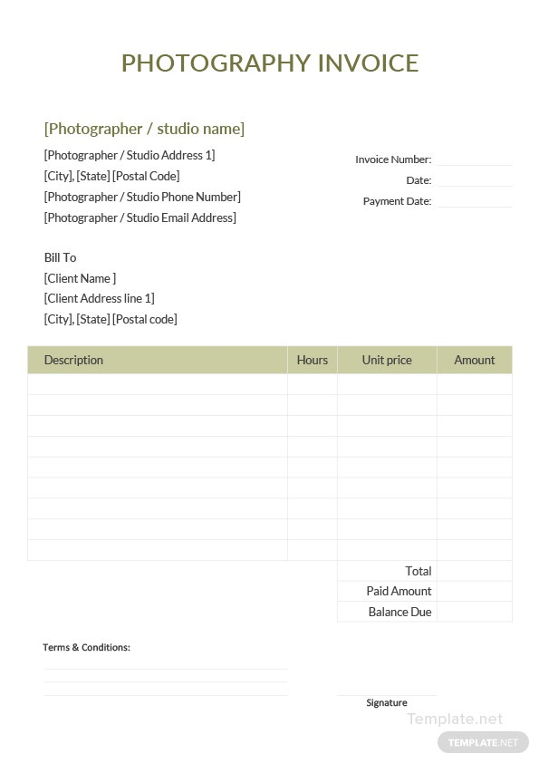 Sample Photography Invoice Template In Microsoft Word Excel Pdf