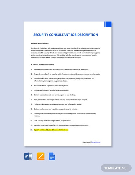 Free Security Consultant Job Description Template