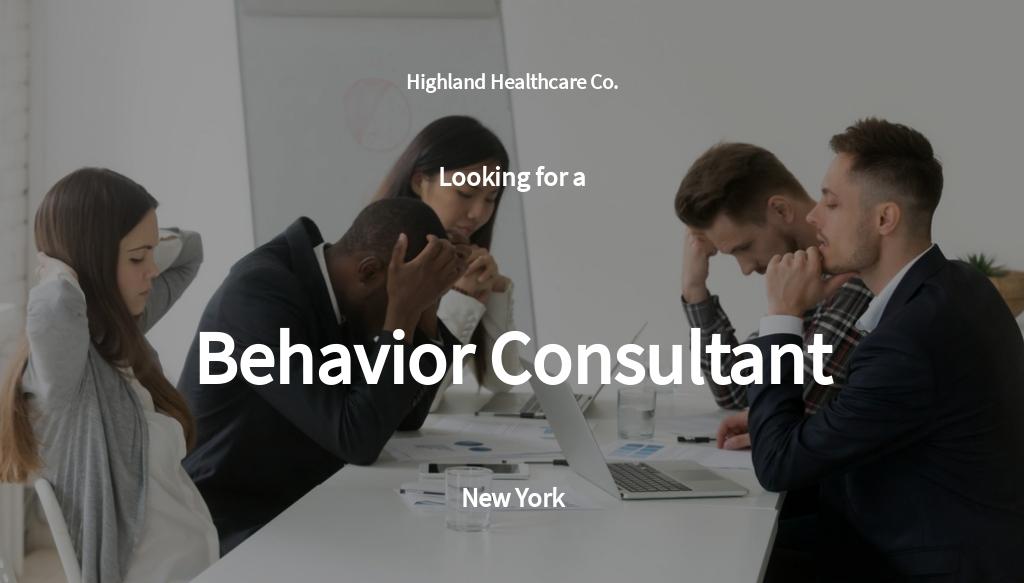 Behavior Consultant Job Ad and Description Template