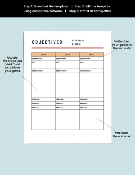 editable University course planner