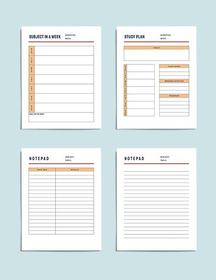 printable University course planner