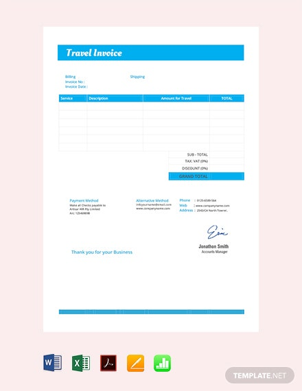 Free Travel Invoice Template