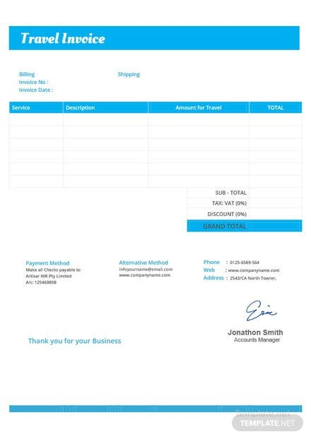 Travel Invoice | Travel Invoice Template In Microsoft Word Excel Pdf Apple Pages