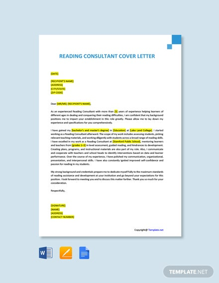 Free Reading Consultant Cover Letter Template