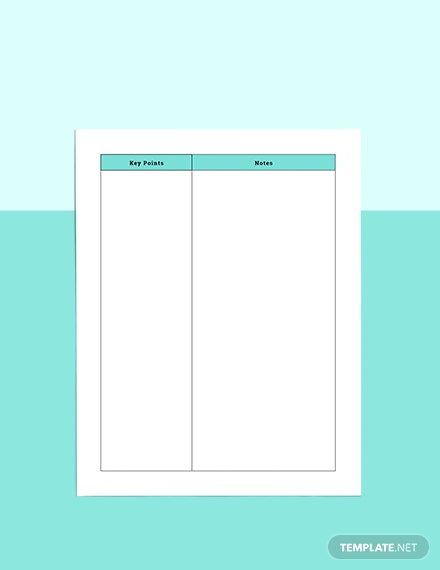 Course Notes planner Example