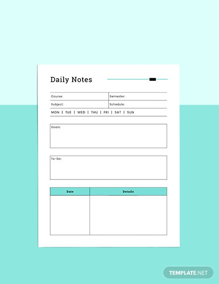 Course Notes planner Format