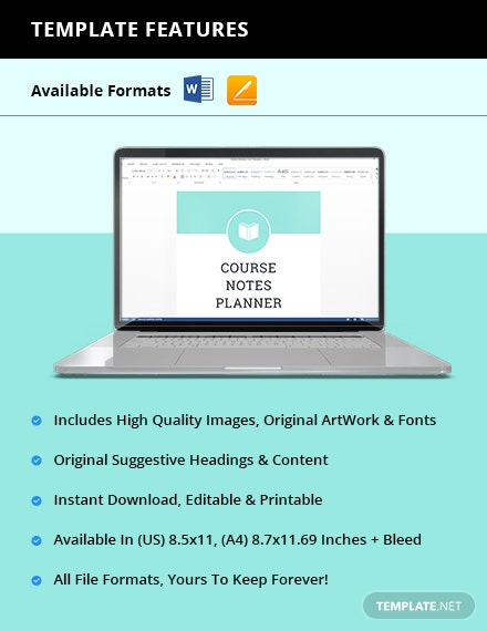 Course Notes planner Instruction