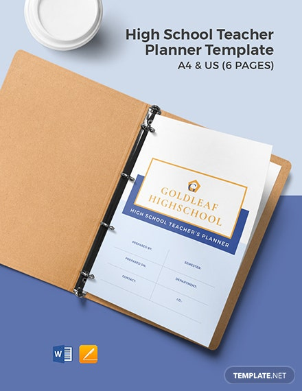 High School Teacher Planner Template