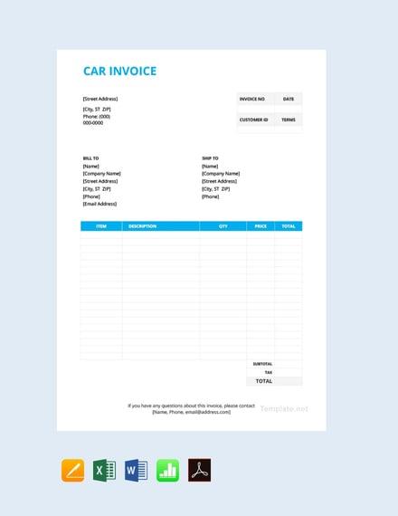Free Car Invoice Template
