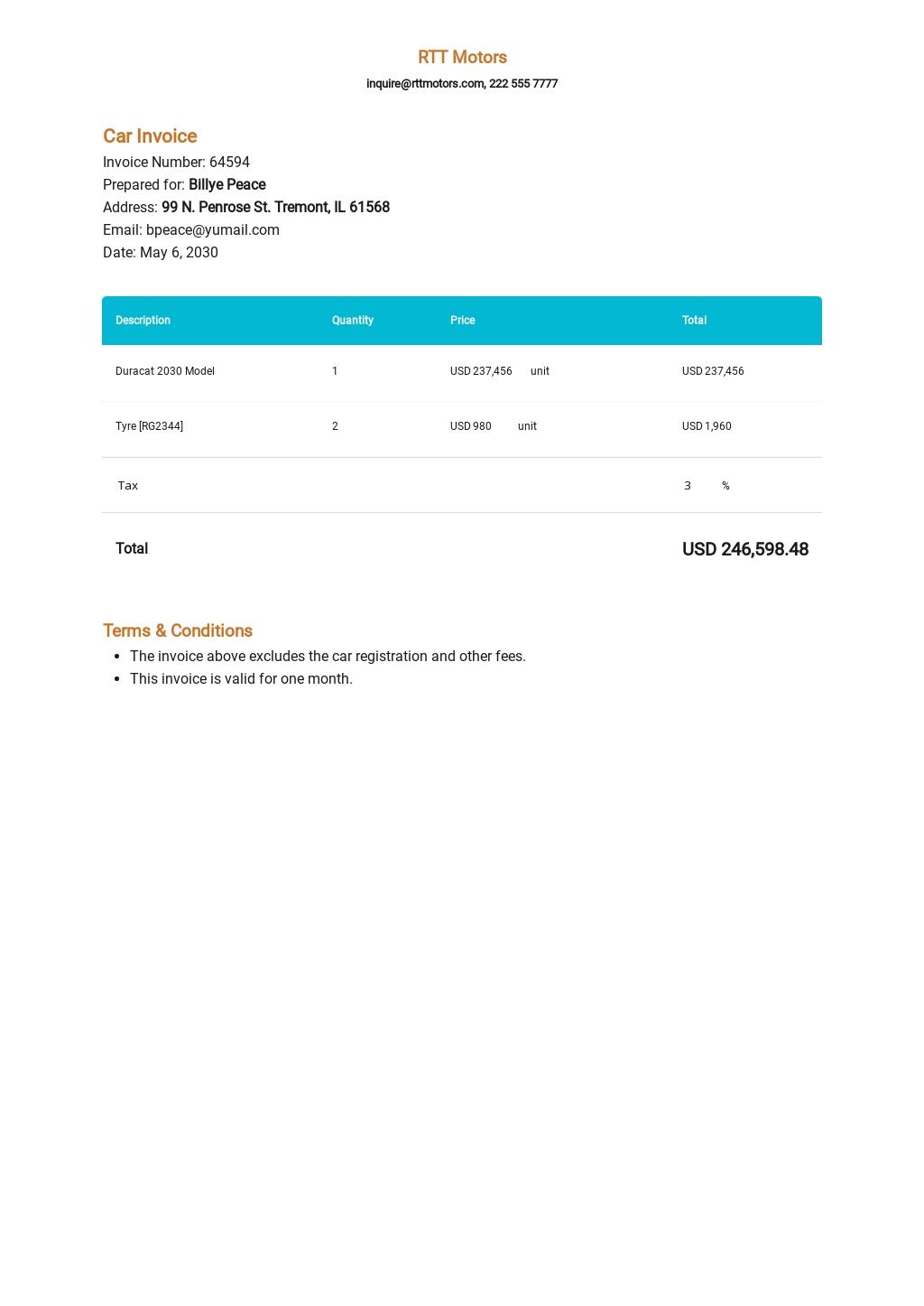 Car Invoice Template [Free PDF] - Google Docs, Google Sheets, Excel, Word