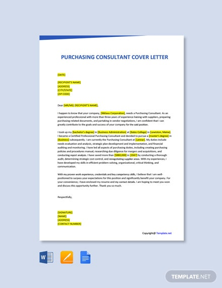 Free Purchasing Consultant Cover Letter Template