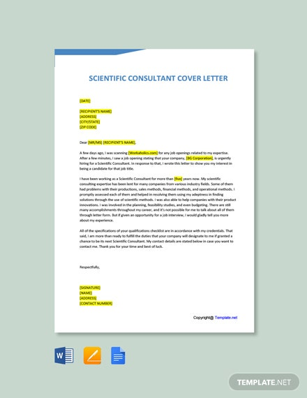 Free Scientific Consultant Cover Letter Template
