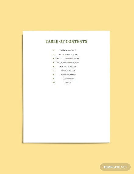 Teacher Lesson planner template