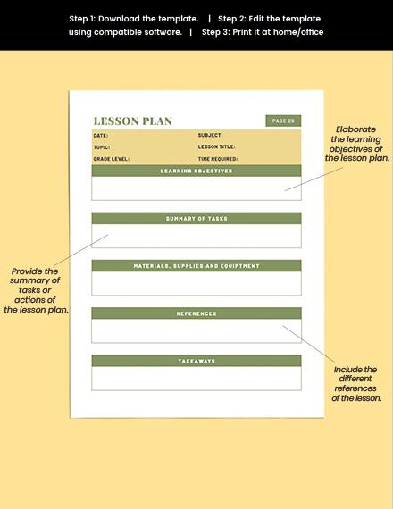 printable Teacher Lesson planner