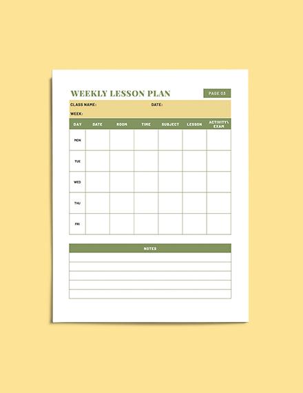 sample Teacher Lesson planner