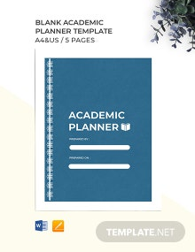Free Blank Academic Planner Template