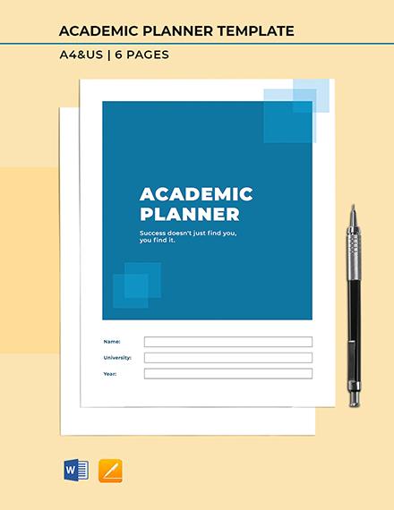 Free Printable Academic Planner Template