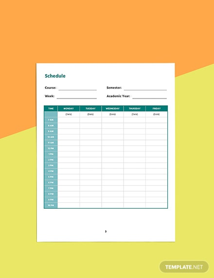 Printable course planner template Download