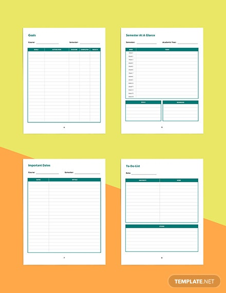 Printable course planner template Example