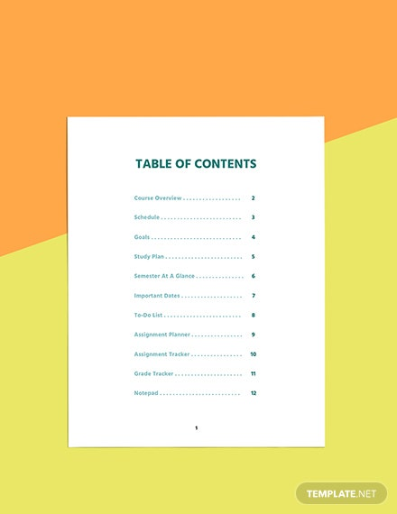 Printable course planner template Format