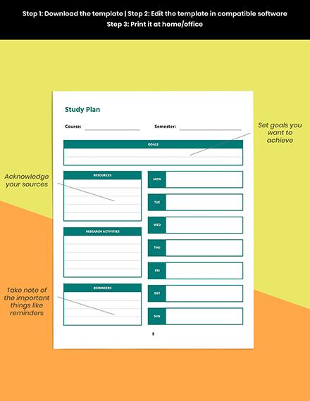 Printable course planner template Printable