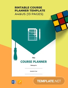 Free Printable Course Planner Template