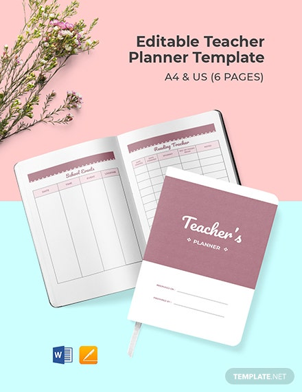 Free Editable Teacher Planner Template