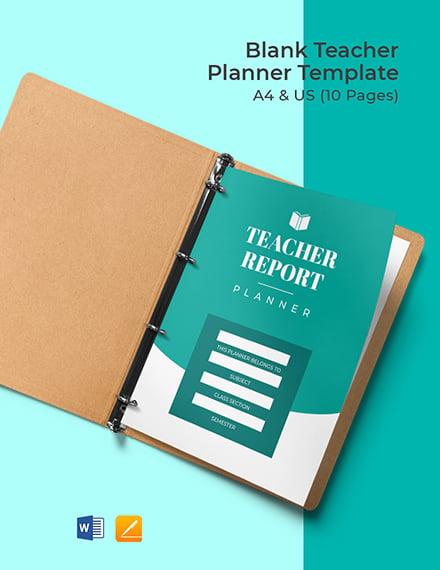 Free Blank Teacher Planner Template