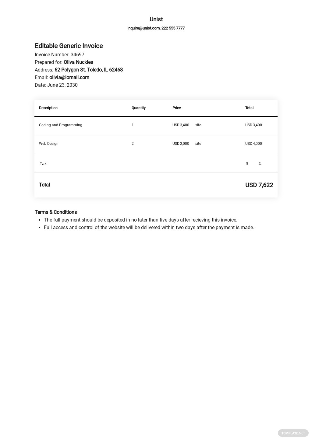 Editable Generic Invoice Template