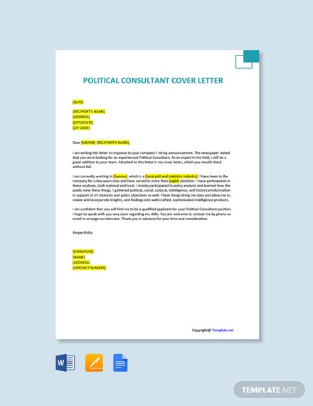 Free Political Consultant Cover Letter Template