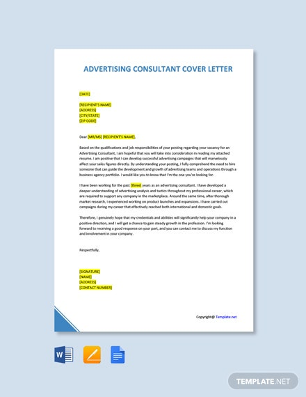Free Advertising Consultant Cover Letter Template