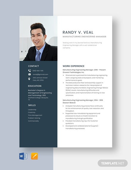 Manufacturing Engineering Manager Resume Template