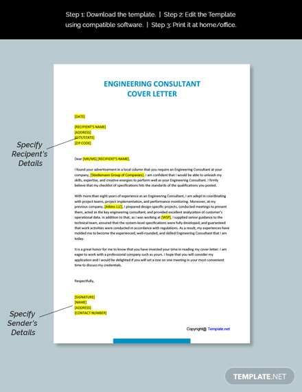 Engineering Consultant Cover Letter Template