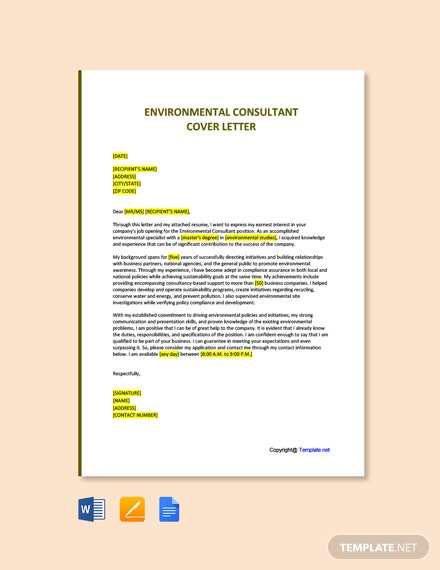 Free Environmental Consultant Cover Letter Template