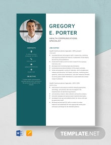 Health Communication Specialist Resume Template