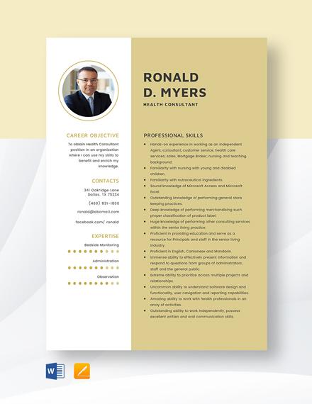 Health Consultant Resume Template