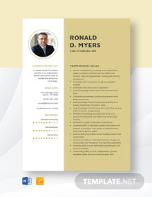 Health Consultant Resume Template