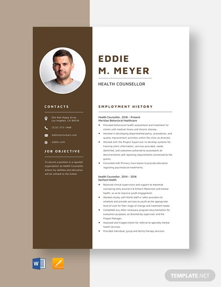 Health Counsellor Resume Template